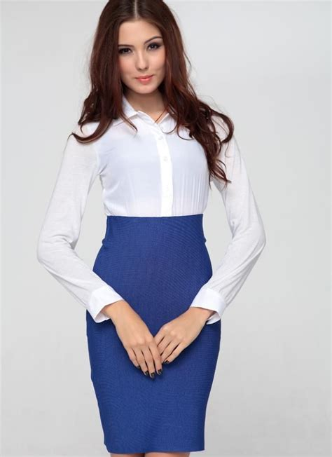 blue pencil skirt and white blouse vintage