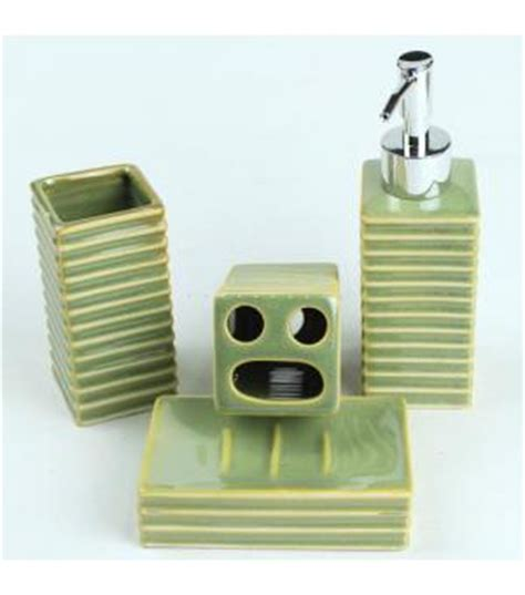 stripes ceramicpiece green bathroom accessories 2030