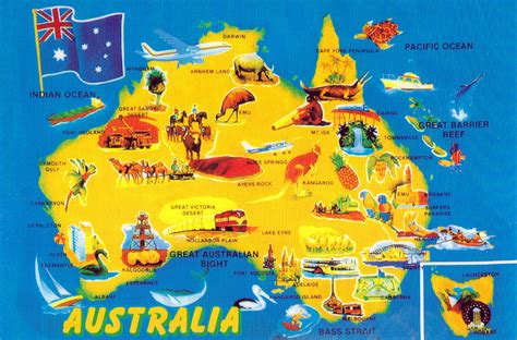tourist map australia maps australia postcard map 1