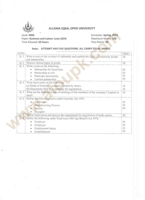 Mba Project Report On Labour Laws by Business And Labour Laws Code 824 Level Mba Paper Of Aiou