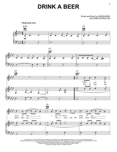 luke bryan guitar chords drink a beer sheet music for voice piano or guitar by
