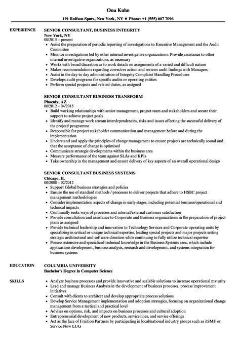 senior consultant business resume sles velvet