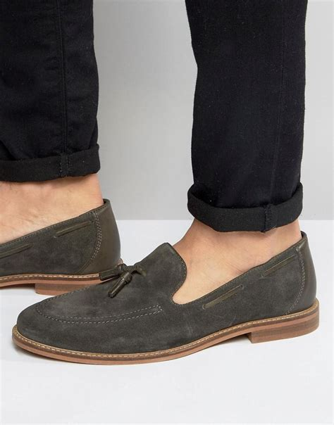 grey tassel loafers asos tassel loafers in grey suede with sole in