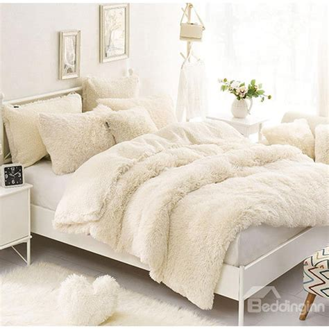 solid creamy white soft 4 piece fluffy bedding sets duvet