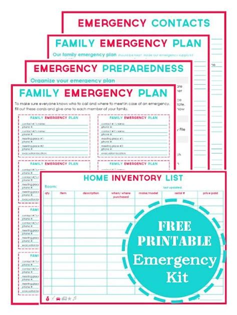 printables family emergency and emergency preparedness on