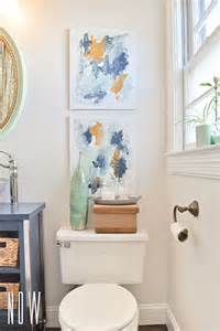 Budget Bathroom Renovation Ideas for some art to hang above the toilet i made two simple abstract