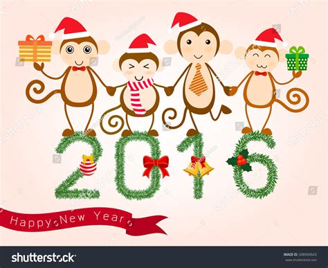 new year monkey characters vector for new year card 2016 year of the monkey with