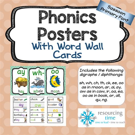 wall cards phonics posters word wall cards sassoon primary font