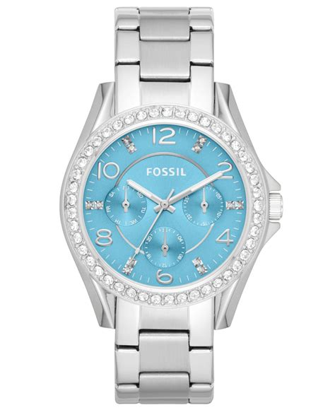 Fossil Rilley Stainless Blue Es4294 fossil s stainless steel bracelet 38mm es3529 in metallic lyst
