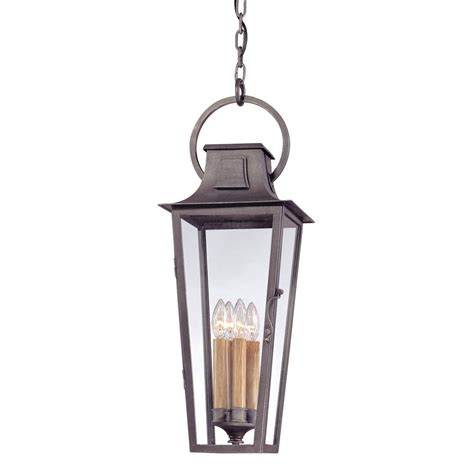 Pewter Outdoor Lighting Troy Lighting Quarter 4 Light Aged Pewter Outdoor Pendant F2967 The Home Depot