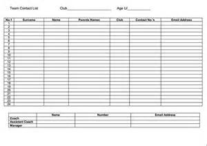 Roster List Template List Template For Team Contact Format Of Team Contact