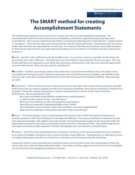 How to Write an Accomplishment Statement