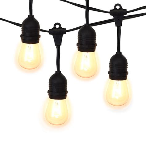 bistro lights wholesale bistro string light suspended black 24 sockets 54ft