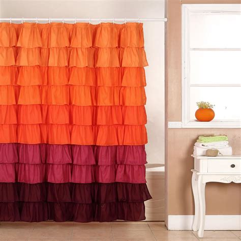 Shower Curtains Orange Pink And Orange Ruffle Shower Curtain Curtain Menzilperde Net