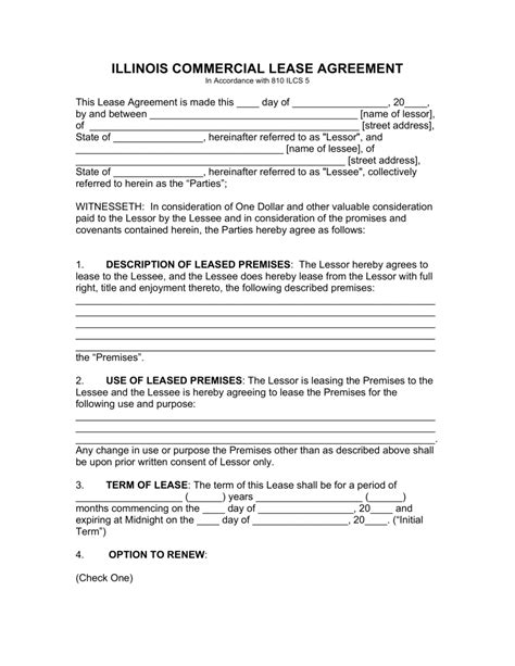 commercial lease agreement in pdf free illinois commercial lease agreement template pdf
