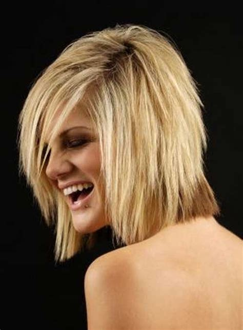 medium feathered bob short side swept layered sleek long bob feather hairstyle
