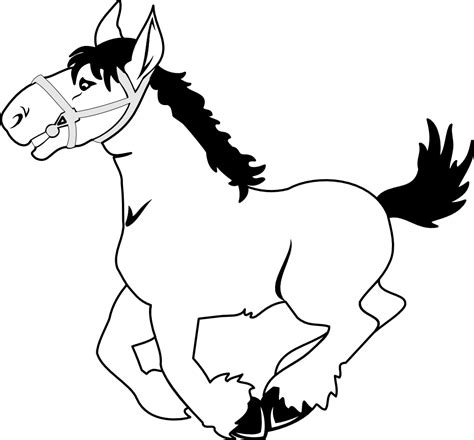 black and white coloring pages of horses horse line drawing clipart best