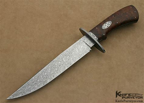 Tom Handcrafted Knives - tom ferry engraved ironwood damascus bowie