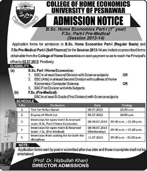 Does School Of Economics Offer An Mba by Peshawar Offers Bsc Home Economics Admissions