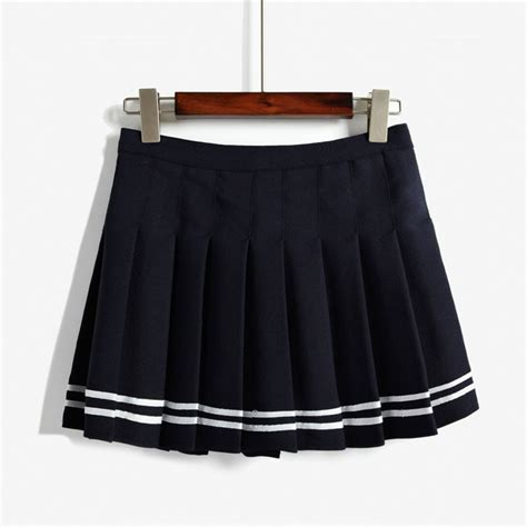 japanese high waist pleated skirts aa student solid