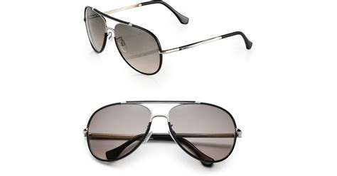 balenciaga leather trimmed 60mm aviator sunglasses in black for lyst