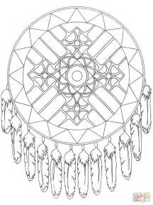 native american coloring pages printable native american dreamcatcher mandala coloring