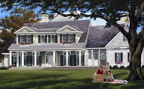 colonial country plantation southern house plan 86148