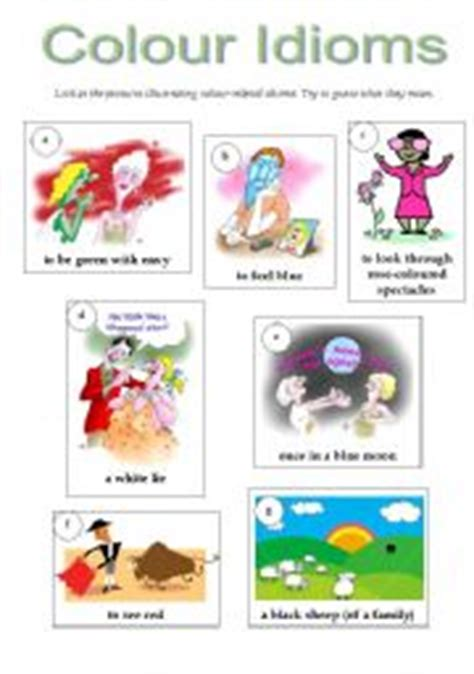 color idioms colour idioms worksheet by natalia