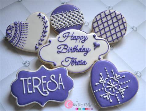 Handmade Cookies - cross stitch lace birthday cookies custom cookies by