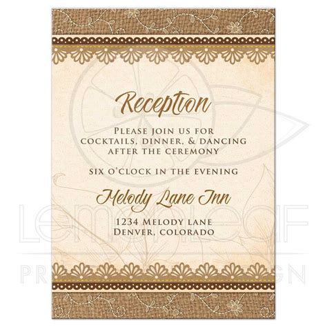 Wedding Invitation Card Reception by Wedding Reception Card Rustic Burlap Lace Wood