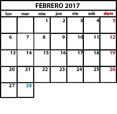 Calendario De Febrero 2017 Calendario Laboral 2017 Festivos Nacionales Y Regionales