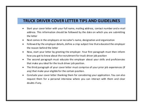 Cover Letter For Truck Driver by Truck Driver Cover Letter Sle Pdf