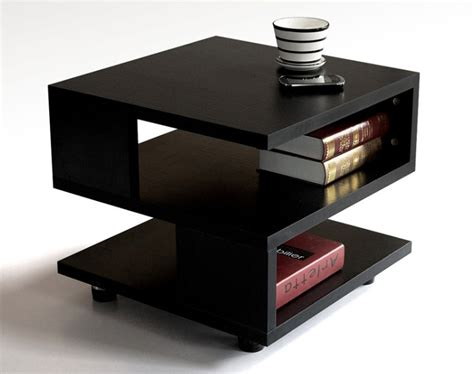 Modern Side Tables For Living Room | accent tables warm brown rectangular chairside table