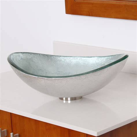 Silver Glass Vessel Sink by Elite 1412 Unique Oval Artistic Silver Tempered Glass