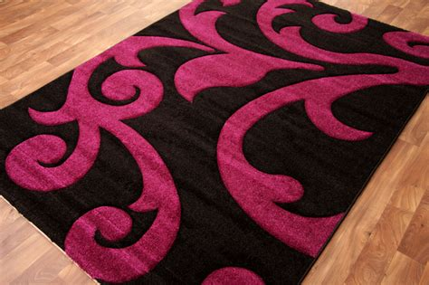 Pink Black Rug new modern purple plum pink black small large motif rug