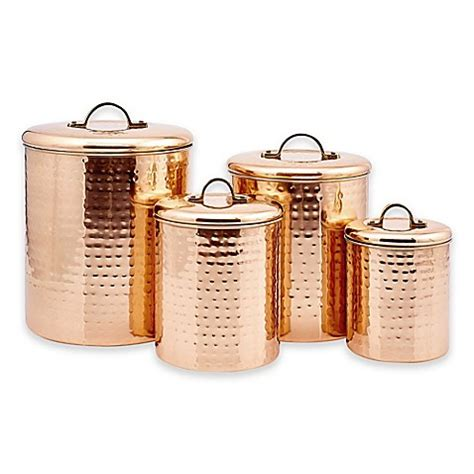 copper canister for a kitchen barh and beyond in greenville nc international d 233 cor hammered copper 4 canister set bed bath beyond