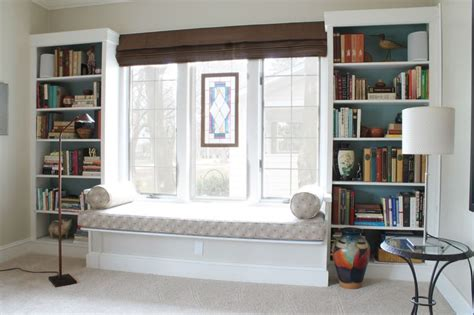 window seat flanked by bookcases pin by pillow on for the home