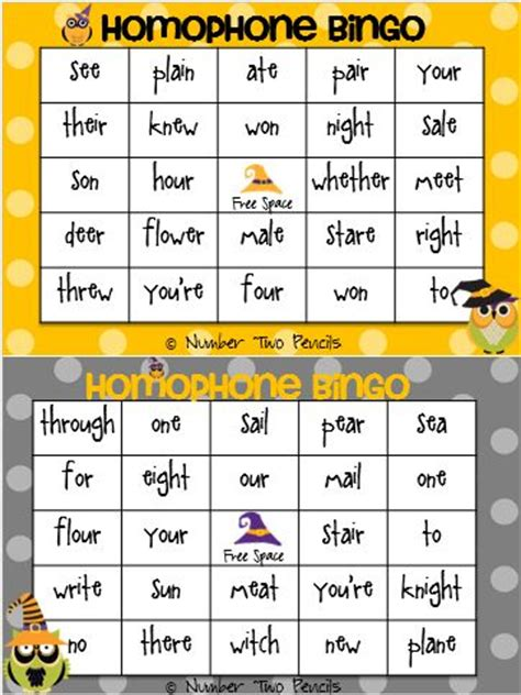 printable homophone games homophone bingo quot hoo knows which witch is which