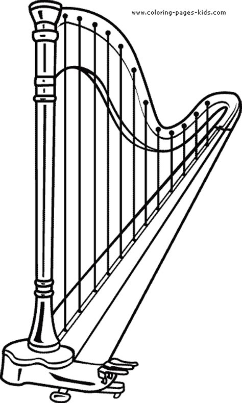 harp printable coloring pages