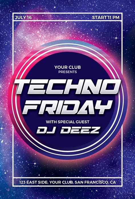 techno party flyer template for photoshop awesomeflyer com