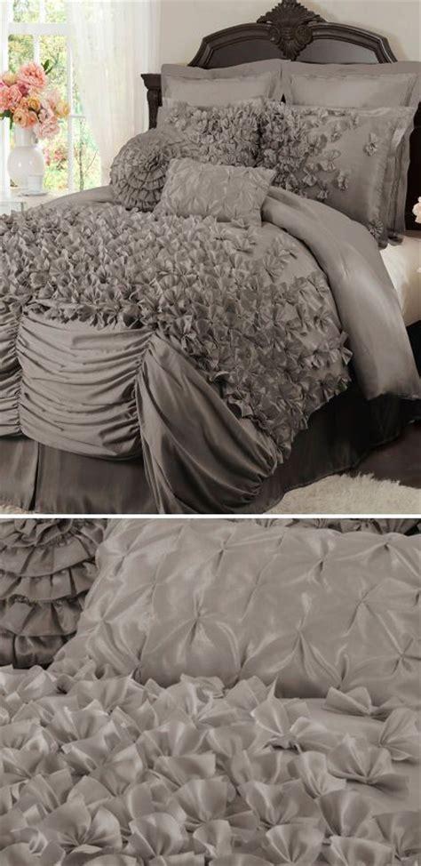 grey ruffle bedding lovely layered ruffle comforter set l o v e bed sets
