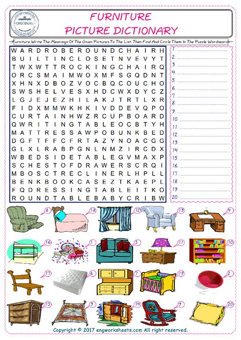 couch words furniture write the meanings of the given pictures to the