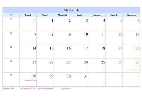 I Calendrier Mars 2016 Calendrier Mars 2016 224 Imprimer Gratuit En Pdf Et Excel