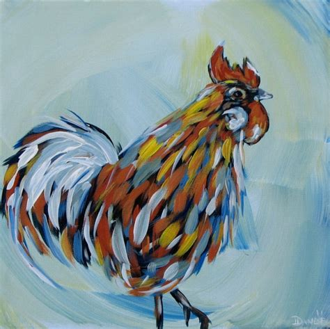 great acrylic painting ideas rooster original acrylic painting on canvas great gift