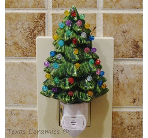 little green ceramic christmas tree night light with