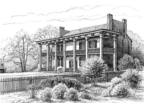 Southern Plantation House Plans the carnton plantation in franklin tennessee drawing by