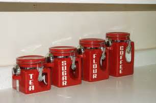 Red Ceramic Canisters For The Kitchen Ceramic Kitchen Canister Set Red Coffee Tea Sugar Flour Jars