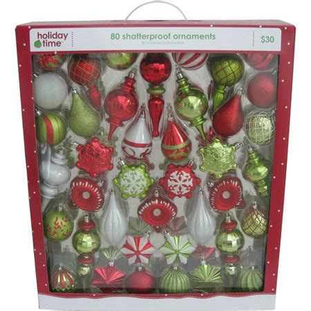walmart ornaments pack time white and light green shatterproof ornaments set of 80 walmart