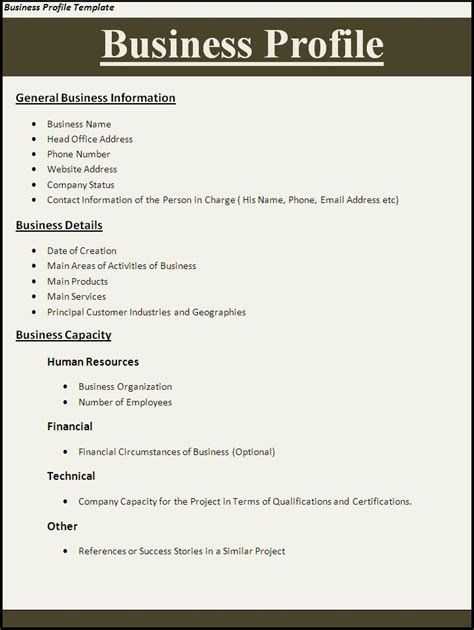 business profile templates business profile template word templates