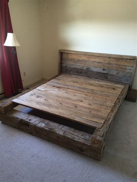 rough bed king platform bed made from hand hewn and rough cut
